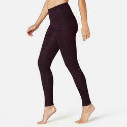 Women's Gym Leggings Slim Fit Stretch 500 - Purple Print