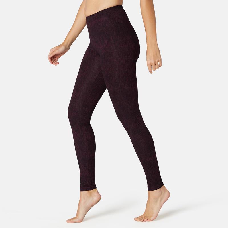 Women's Slim-Fit Fitness Leggings Fit+500 - Purple Print