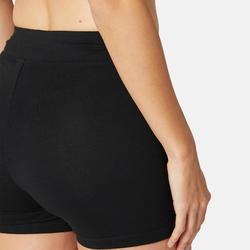 Damesshort voor pilates en lichte gym Fit+ 500 zwart slim fit