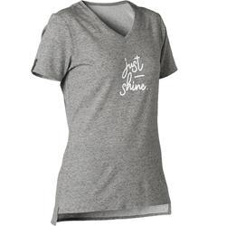 T-shirt voor pilates en lichte gym dames 510 grijs/opdruk