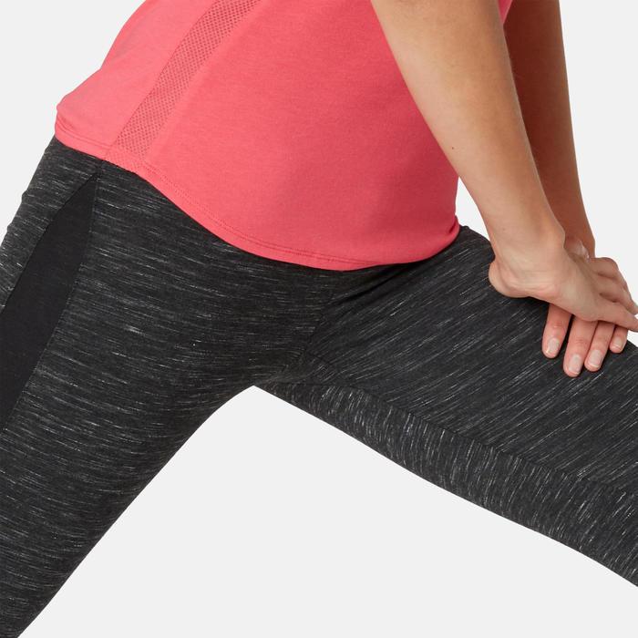 Legging voor pilates en lichte gym dames 520 slim fit 7/8 gemêleerd zwart