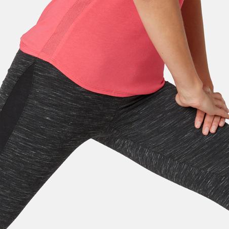 Legging 7/8 Slim-Fit Pilates & Senam Ringan Wanita 520 - Hitam Berbintik