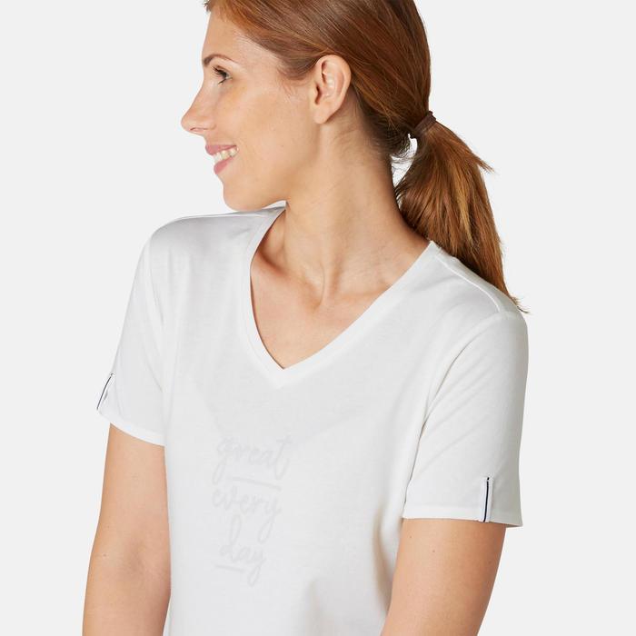 T-shirt Sport Pilates Gym Douce Femme 510 Blanc Imprimé