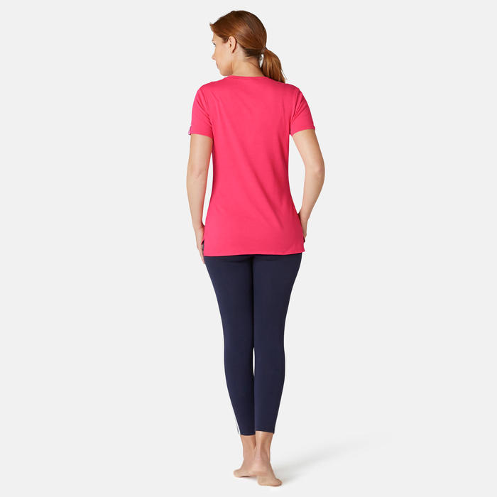 T-shirt Sport Pilates Gym Douce Femme 510 Rose Imprimé
