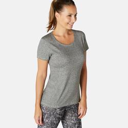 T-shirt voor pilates en lichte gym dames 500 regular fit grijs/print
