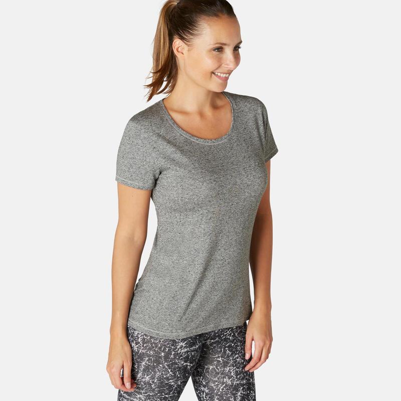 T-Shirt Coton Extensible Fitness Gris