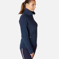 Veste zippée femme 500 bleu marine col montant