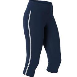 Kuitbroek voor pilates en lichte gym dames 510 slim fit marineblauw