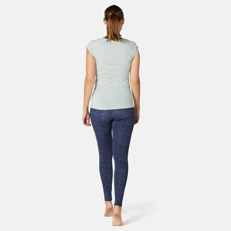 Bawahan Olahraga Gym Ringan & Pilates Slim-Fit Wanita Fit+ 500 - Biru Motif