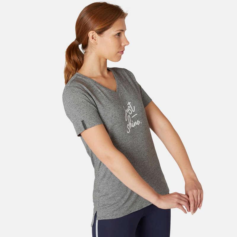 WOMAN T SHIRT LEGGING SHORT - Women's Gym T-Shirt 510 - Grey