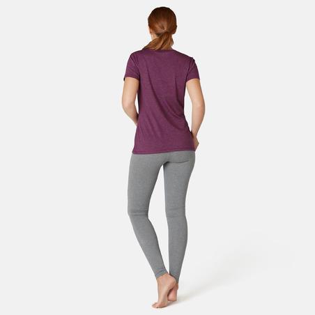 Playera Pilates Gimnasia suave Mujer 500 Regular Violeta Estampado