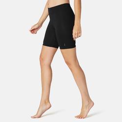 女款修身剪裁皮拉提斯與溫和健身自行車短褲Fit+500 - 黑色