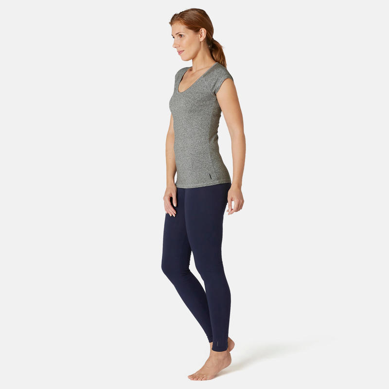 Women's Slim-Fit Pilates & Gentle Gym Sport T-Shirt 500 - Grey