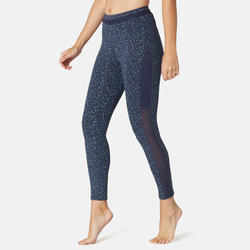 Legging 7/8 Sport Pilates Gym Douce Femme 520 Slim Bleu