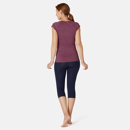 Women's Pilates & Gentle Gym Slim-Fit T-Shirt 500 - Purple