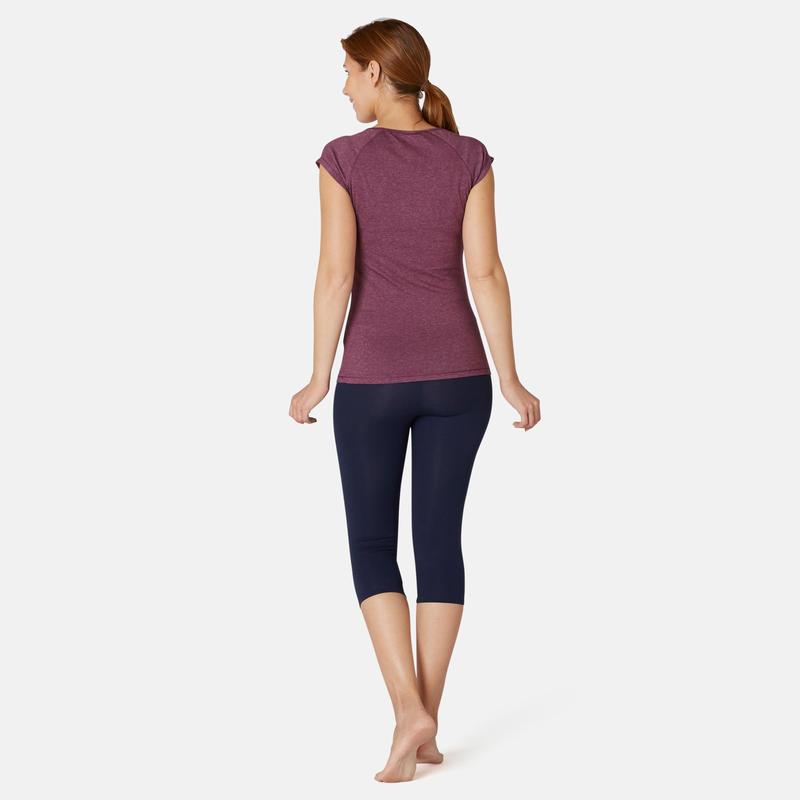 T-shirt Sport Pilates Gym douce Femme 500 Slim Violet