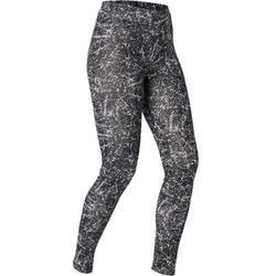 Legging voor pilates en lichte gym dames Fit+500 slim fit zwart met print