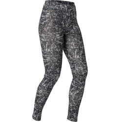 Women's Gym Leggings Stretch Slim Fit 500 - Black Print