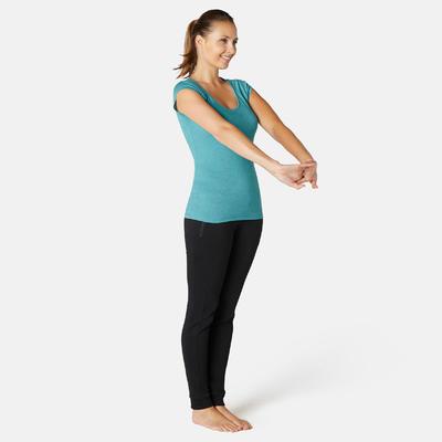Women's Gentle Gym & Pilates Slim-Fit T-Shirt 500 - Azure