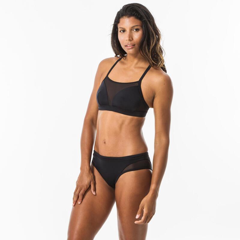 Top Bikini Bandeau Deportivo Surf Mujer Olaian Elise Espalda Cruzada Negro