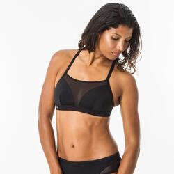 Bikinitop voor surfen Elise zwart dubbele platte rugverstelling