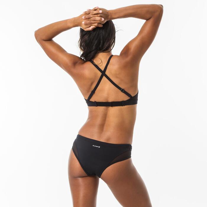 Bikinibroekje voor surfen Savana zwart opengewerkte details en aantrekkoordje
