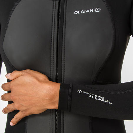 WOMEN'S NEOPRENE JACKET ADVANCED LEVEL with 1.5 mm foam and front ZIP - BLACK