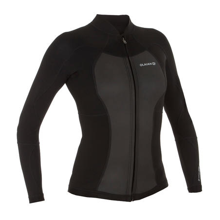 WOMEN'S NEOPRENE JACKET ADVANCED LEVEL with 1.5 mm foam and front ZIP - BLACK