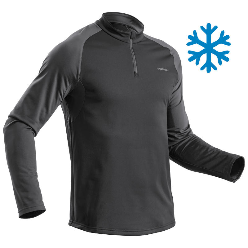 Men's Warm Long-Sleeve Snow Hiking T-shirt SH100 - Black.