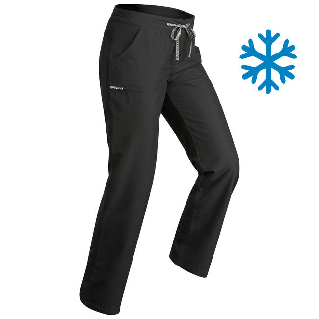 Women's warm Hiking Trousers SH100 ultra-warm - black