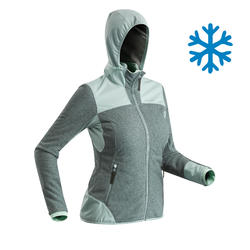 Women's Snow Hiking Fleece SH500 (X-Warm) - Grey/Green