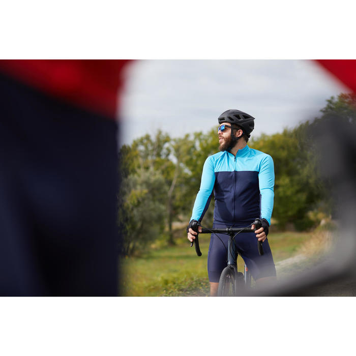 MAILLOT MANCHES LONGUES VELO ROUTE TRIBAN TEMPS CHAUD RC100 NAVY / BLEU
