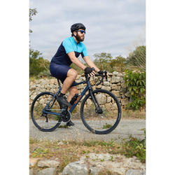 MAILLOT MANCHES COURTES TPS CHAUD VELO ROUTE HOMME CYCLOTOURISME RC100 NAVY BLEU