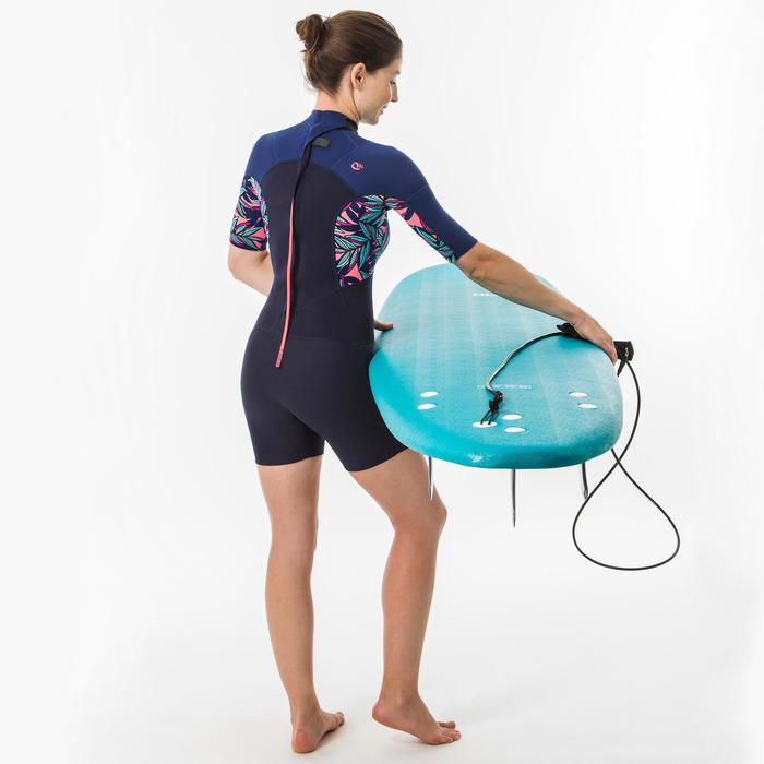 女款短版衝浪防寒衣500(背部拉鍊設計)-窄葉款