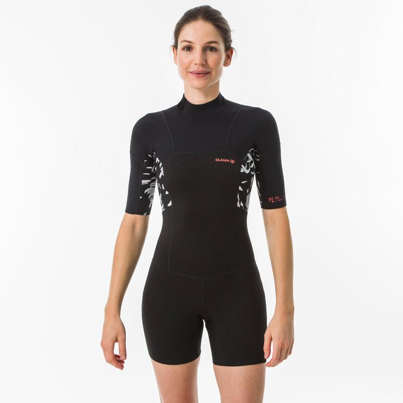 CALÇÕES de surf mulher 500 AKARU fecho costas manga curta