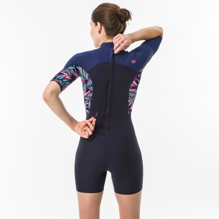 SHORTY de surf femme 500 WAKU zip dos manches courtes