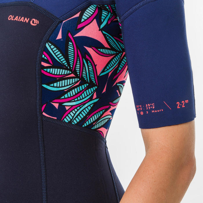Women's Surfing Shorty short-sleeved with back zip 500 WAKU