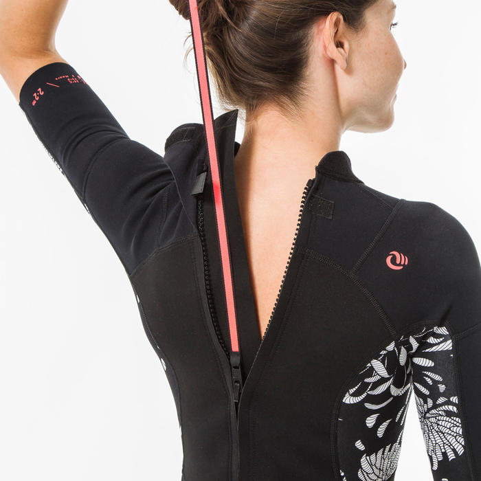 SHORTY de surf femme 500 AKARU zip dos manches courtes