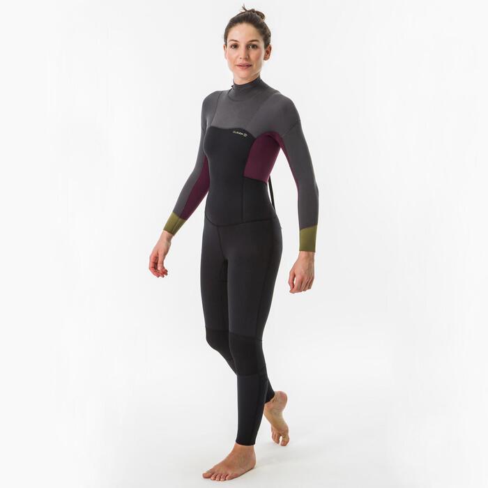 Neoprenanzug 500 Einteiler Surfen 4/3 mm Back Zip Damen