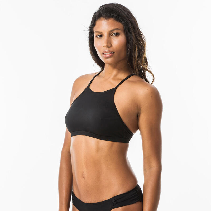 Women's surfing swimsuit bikini top with padded cups ANDREA - BLACK