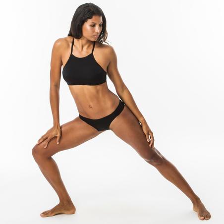 Panty Bikini Surf Olaian Niki Mujer Negro Plisada Lateral