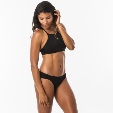 Andrea Women's Surfing Crop Top Swimsuit Top with Padded Cups - Black