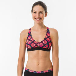女款衝浪泳裝短版上衣(背部可調式設計)AGATHA-花扇款。