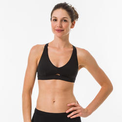 Bikinitop voor surfen Agatha zwart dubbele rugverstelling