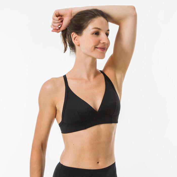 Bikinitop voor surfen Bea zwart halter dubbele rugverstelling