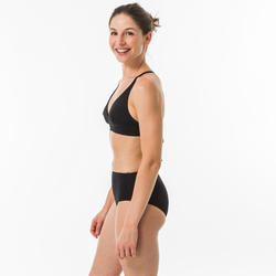Bikinibroekje voor surfen Romi zwart hoge taille