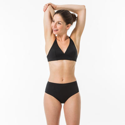 Calzón Talle Alto Bikini Surf Olaian ROMI Mujer Negro