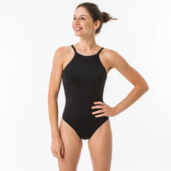 WOMEN'S 1-PIECE surf SWIMSUIT BACK X ANDREA BLACK with removable cups