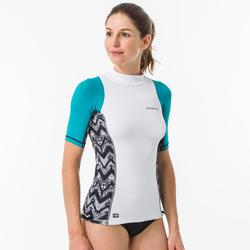 Uv-werende rashguard voor surfen dames 500 korte mouwen turquoise en wit
