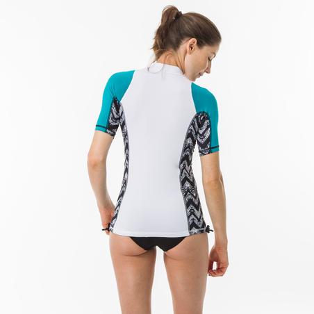 Playera anti-UV de surf top 500 manga corta mujer turquesa y blanco